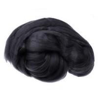 Пряжа для валяния (лента гребенная) 100% акрил 100г 0001-Чёрный