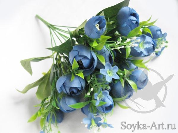 Голубые искусственные цветы